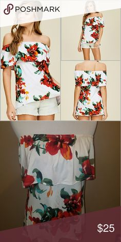 Off the Shoulder Floral Print Top Off the shoulder floral print top featuring ruffles and high low hemline. Fabric is soft and drapes well. 95% Rayon 5% Spandex. Model is 5'9 wearing a small. Tops Blouses