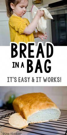 BREAD IN A BAG A quick and easy toddler activity a fun indoor kids activity kids recipe recipes for kids recipes kids make easy science activity rainy day activity from B. Bread Recipes For Kids, Easy Meals For Kids, Recipes For Children, Baking With Kids Easy, Baking With Toddlers, Toddler Recipes, Kids Baking Recipes, Simple Recipes For Kids, Easy Kids Recipes