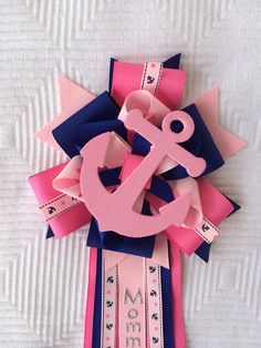 Pink Baby Shower Corsage Nautical Sailing Anchor on Etsy