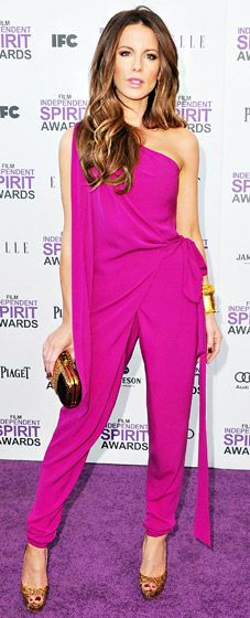 The sexy Brit wowed in a fuchsia DVF jumpsuit, Christian Louboutin shoes, Lorraine Schwartz jewels and a Gucci bag at the 2012 Film Independent Spirit Awards in Santa Monica, Calif. Feb. 25.