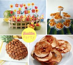 Healthy kid's party ideas: Fruit boats, Mac n cheese muffins, Apple crisps sprinkled with cinnamon