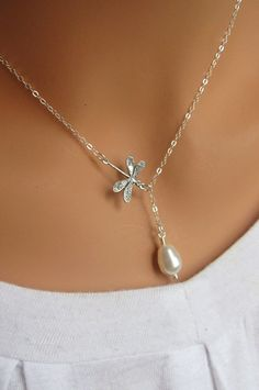 4th of JULY SALE Dragonfly and pearl sterling silver lariat necklace
