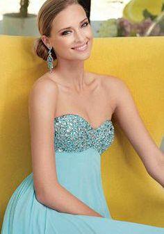 Floor Length Sweetheart Chiffon Empire Sheath/ Column Prom Dresses - Lunadress.co.uk