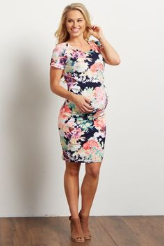 Navy Neon Floral Print Fitted Dress