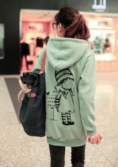 Fashionable Picture Printing Warm Fleeces Long Hoodie
