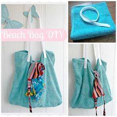 DIY BEACH BAG FROM A TOWEL