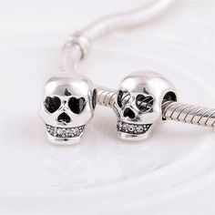 Sterling Silver Skull Charm Bead For European Charm Bracelets, Necklace, Halloween Jewelry - SX191