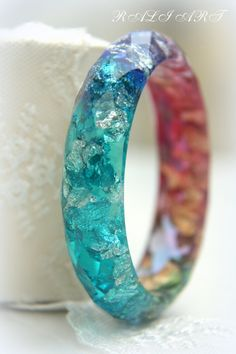 Resin bracelet Bangle gold flakes Resin bangle by RALIJEWELLERY