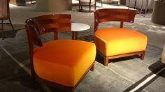 thomas armchair, mahagony glossy and orange velvet FLEXFORM @ imm cologne #qualityandcomfort #orange #mahagony #flexform #madeinitaly #immcologne2015 #armchair #designmadeinitaly #antoniocitterio