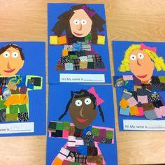 Self-Portrait Collage- Kindergarten Art (art teacher: v. giannetto) by GodMick Kindergarten Self Portraits, Kindergarten Art Lessons, Art Lessons Elementary, Art For Kids, Crafts For Kids, Self Portrait Art, 2 Kind, Ecole Art, My Themes