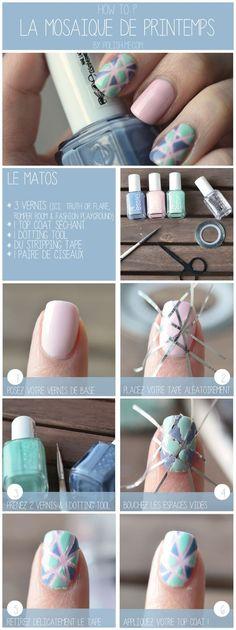 Tutoriel Nail Art mosaïque de printemps ! #PolishMe #NailArt #Nails #Essie: