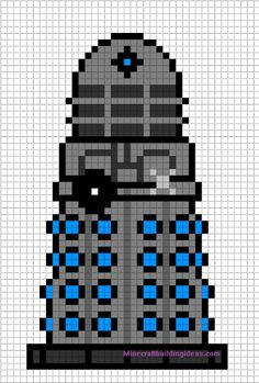 Dalek Doctor Who perler bead pattern