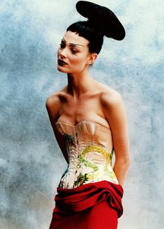 Shalom Harlow, in Jean Paul Gaultier, by Peter Lindbergh for Vogue