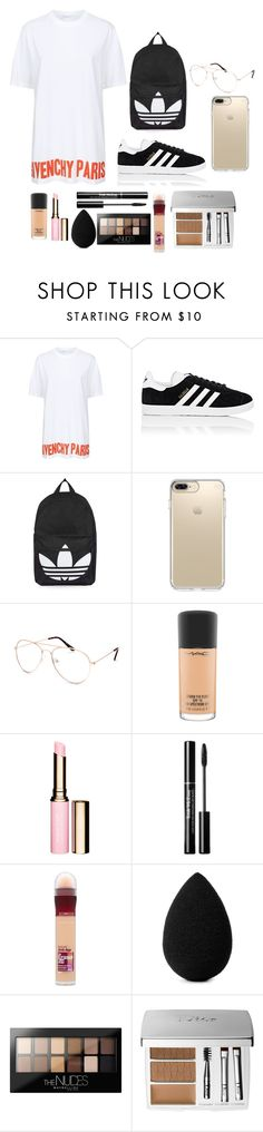 """Casual T-Shirt Dress Outfit and Natural Makeup"" by reneejade3 ❤ liked on Polyvore featuring Givenchy, adidas, Topshop, Speck, Blue Crown, MAC Cosmetics, Maybelline, beautyblender and Christian Dior"