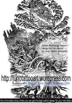 Greek Mythology tattoo design for full sleeve by Juno
