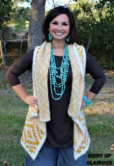 Our Own Story Aztec Sweater Vest in Mustard $34.95 www.gugonline.com