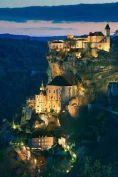 Overlooking the Alzou canyon, is the medieval village of Rocamadour, France