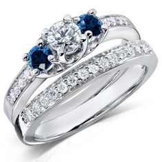 1 Carat Round Diamond and Blue Sapphire Wedding Ring Set for Her in White Gold