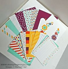 Project Life title and journaling cards aren't just for scrapbooking!  I used the This Day Mini Card Collection (FREE with $50 purchase during Sale-a-bration 2015) to make quick and easy cards, too!  Details on my post for the Project Life by Stampin' Up! for You Blog Tour . . . Cards Today!   www.stampingeorgia.com