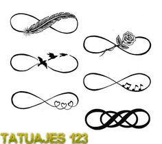 Seis diseños de símbolo infinito