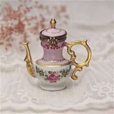 Limoges Pink and Gold Teapot Box The Cottage Shop
