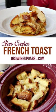 Make overnight slow cooker French toast in a Crock Pot for an easy breakfast. This recipe is great for busy families! Just use bread, eggs, and milk to create a simple breakfast that's ready when you (Baking Bread In Crockpot) Crockpot French Toast, French Toast Slow Cooker, Slow Cooker Breakfast, Breakfast Crockpot Recipes, French Toast Bake, Breakfast Buffet, Brunch Recipes, Eat Breakfast, Eggs Crockpot
