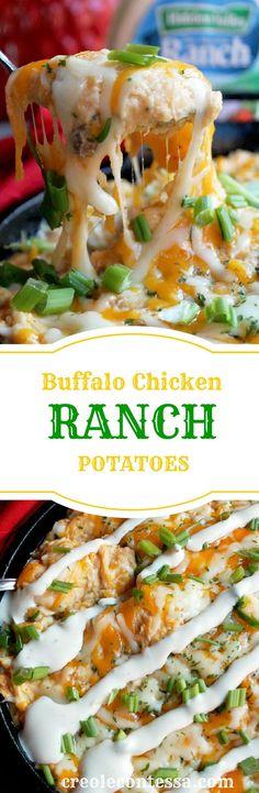 Buffalo Chicken Ranch Potato Casserole