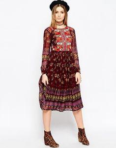 ASOS PREMIUM - Midi Elbise işlemeli ve baskılı