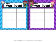 FREEBIE! Use these cute reward charts as part of a whole class positive reinforcement program, or for individual students who need a little extra support managing their behavior. If you like these, check out my Rock Star Awards and Class Decor Pack!