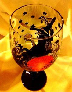 Halloween Witch Wine Glass