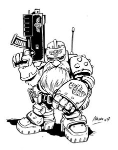 Squat Trooper by NachoMon Coloring Book Art, Colouring Pics, Cyberpunk, Elf Games, Fantasy Dwarf, Warhammer 40k Art, Space Marine, Sketch Design, Art Model