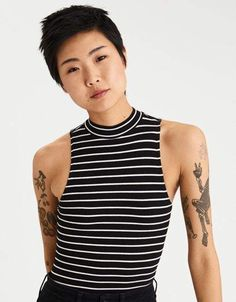 Shop Women's Bodysuits at American Eagle. Find your favorite lace, high neck or tie strap bodysuit today! Bodysuit Fashion, Womens Bodysuit, Striped Bodysuit, Black Bodysuit, Womens Clearance, 90s Outfit, Striped Tank Top, Mens Outfitters, Grunge Outfits