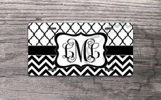 Monogrammed License Plate - Black and White chevron and Moroccan pattern, custom name or monogram, personalized front license plate