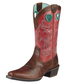 Ariat: Women's Rawhide Square Toe Boot - Mission Brown/Red Light