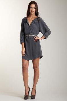 Twelfth Street by Cynthia Vincent Women Henley Dress---100% silk---love silk---would also rock this over skinny jeans and boots for winter