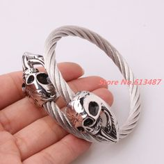New Mens Womens Jewery Skull Bracelets Twisted Silver Stainless Steel Cable Wires Skull Clasp Cuff Bracelets Xmas Gift Jewelry
