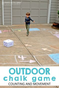 DIY board game on the driveway! Outdoor Games For Toddlers, Kids Activities At Home, Outside Activities, Motor Skills Activities, Hands On Activities, Literacy Activities, Outdoor Activities, Learning Through Play, Fun Learning