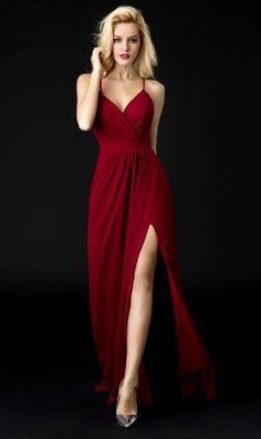 A Line Burgundy Prom Dress,Backless Prom Dress,V Neck