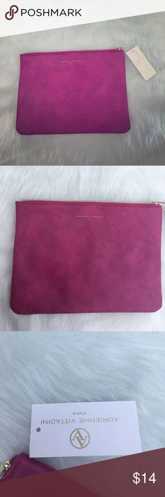 💕💎NWT Adrienne Vittadini Studio Pouch 💎💕 NWT Tech Pouch W Clear Interior Pocket-Fuchsia Smooth MSRP $30  Can be used as a clutch, tech Pouch for phone or tablets, or makeup bag Adrienne Vittadini Accessories Tablet Cases