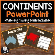 Continents Vocabulary Interactive PowerPoint and Trading Cards! This is a FUN, EFFECTIVE way to teach continents vocabulary to your class.