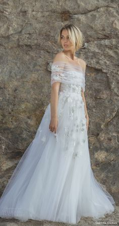 This off the shoulder tulle wedding gown is something out of wedding dreams! Wedding Dress Trends, New Wedding Dresses, Bridal Dresses, Weird Wedding Dress, Wedding Blog, Wedding Bouquets, Ethereal Wedding Dress, Most Beautiful Wedding Dresses, Ruched Wedding Dress