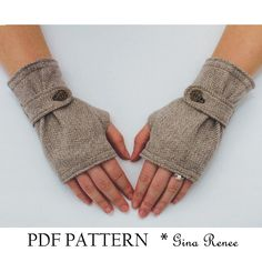 Fingerless Glove Pattern with Strap. PDF Glove Sewing Pattern.. $7.45, via Etsy.