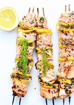 11 Easy Appetizers For Summer Entertaining via @domainehome Kebabs are often served as main dishes at a barbecue, but there's no reason you can't serve them as an appetizer, too. Grill up these mouthwatering lemon and salmon kebabs, and then take them off their skewers to offer them in smaller bites.