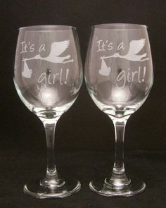 Newborn Its a Girl Etched Wine Glasses, baby shower, baby girl. $24.99, via Etsy.