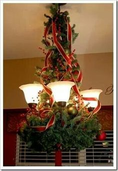 Chandelier covered with boughs & ribbon. Love it!