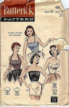 Vintage Butterick Pattern No.6956 For Blouses | eBay Couture Vintage, Vintage Glam, Vintage Tops, Vintage Lingerie, Vintage Dress Patterns, Clothing Patterns, Skirt Patterns, Coat Patterns, Blouse Patterns