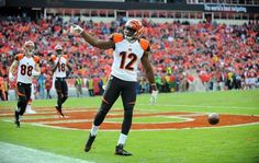 Bengals wide receiver Mohamed Sanu celebrates after scoring a touchdown during the second half of Sunday's 28-6 win against the Kansas City Chiefs at Arrowhead Stadium.