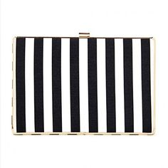 Yoins Black and White Striped Leather-look Box Clutch Bag with Chain... ($29) ❤ liked on Polyvore featuring bags, handbags, clutches, yoins, black, vegan purses, box clutch, striped handbag, vegan leather handbags and black white striped purse