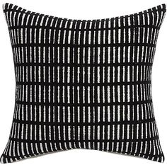 Geometric grid forms fun optical illusion with subtle asymmetry. Featuring flocked black lines, Brooklyn-based designer Aelfie Oudghiri's 100% cotton pillow reverses to solid white.