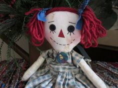 Raggedy Ann primitive by granniesraggedybags on Etsy, $14.00